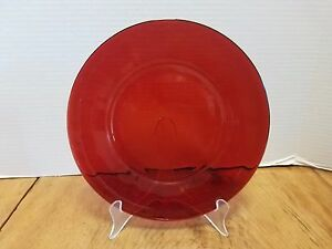 """Vintage Anchor Hocking ROYAL RUBY RED  9/"""" DINNER PLATE"""