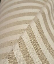 "Designer Oatmeal Ivory Ticking Stripe 100% Heavy Washed Linen 60"" Curtain Fabric"