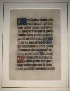 RARE-MEDIEVAL-ILLUMINATED-MANUSCRIPT-LEAF-ON-VELLUM-15th-CENTURY-c-1400-1499