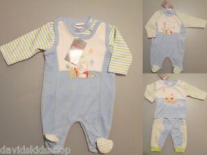 Baby Strampler SET Nicki Stramplerhose /& Shirt 50 56 62 68 74 Blau Velour