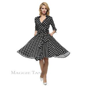 4b3779ae02f4 Maggie Tang 50s Long Sleeve VTG Rockabilly Hepburn Pinup Party Swing ...