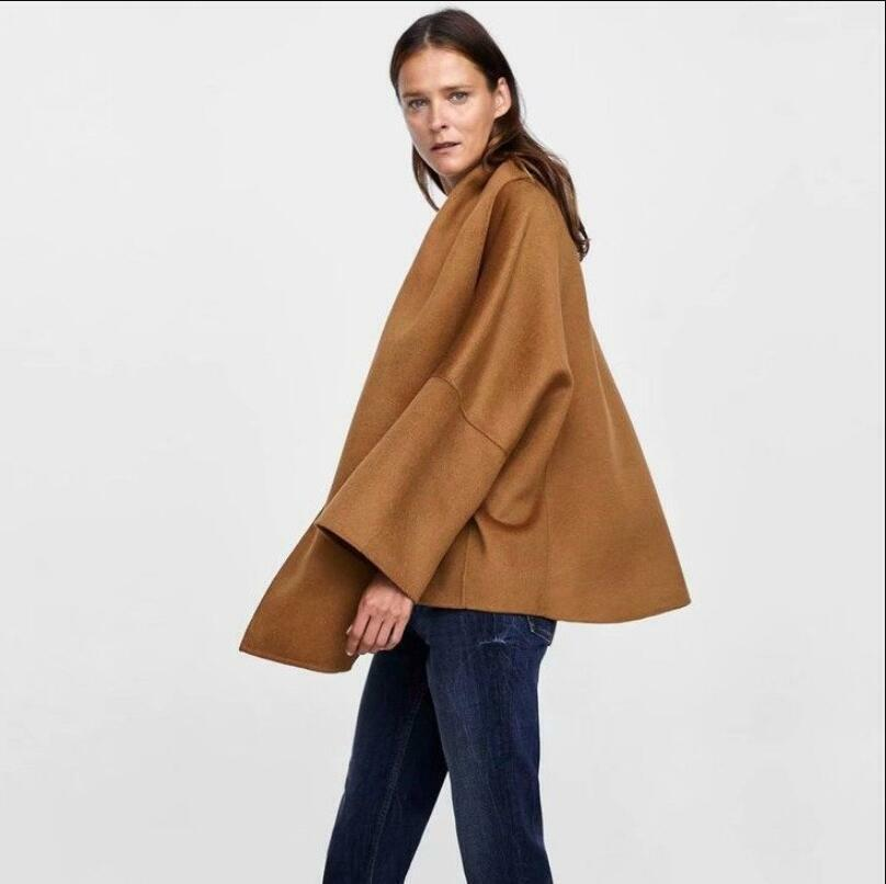 Womens Woolen Loose Fit Cape Style Outwear Scarf Parka Long Sleeve Outwear gic01