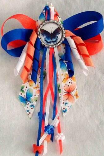 Hummingbird or Bird /& Buttons Hair Bow w//Beads Butterfly Owl
