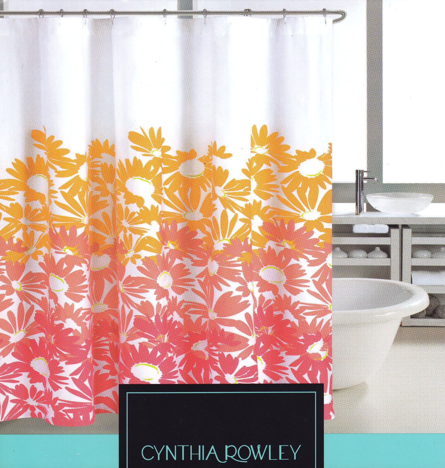 Cynthia Rowley Cotton Blend Fabric Shower Curtain Sunny Floral Coral Melon White For Sale Online