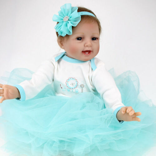 Handmade 22/'/' Lifelike Reborn Baby Dolls Newborn Soft Vinyl Silicone Girl Doll