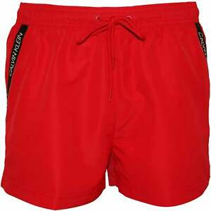 e4f7cfc7d5fd Details about Calvin Klein Angled Logo Tape Men's Swim Shorts, Lipstick Red