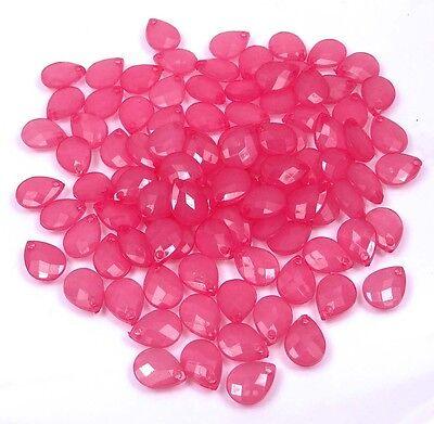 100 Transparent Acrylic Lucite Faceted Briolette Teardrop Beads - Choose Color