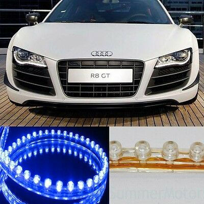 Blue 2x 48cm 48leds Audi DRL Style Car Led Strip Light Headlight Bar Flexible