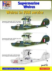 H-Model Decals 1//72 Supermarine Walrus Mk.I in FAA Service Part 4 # 72089