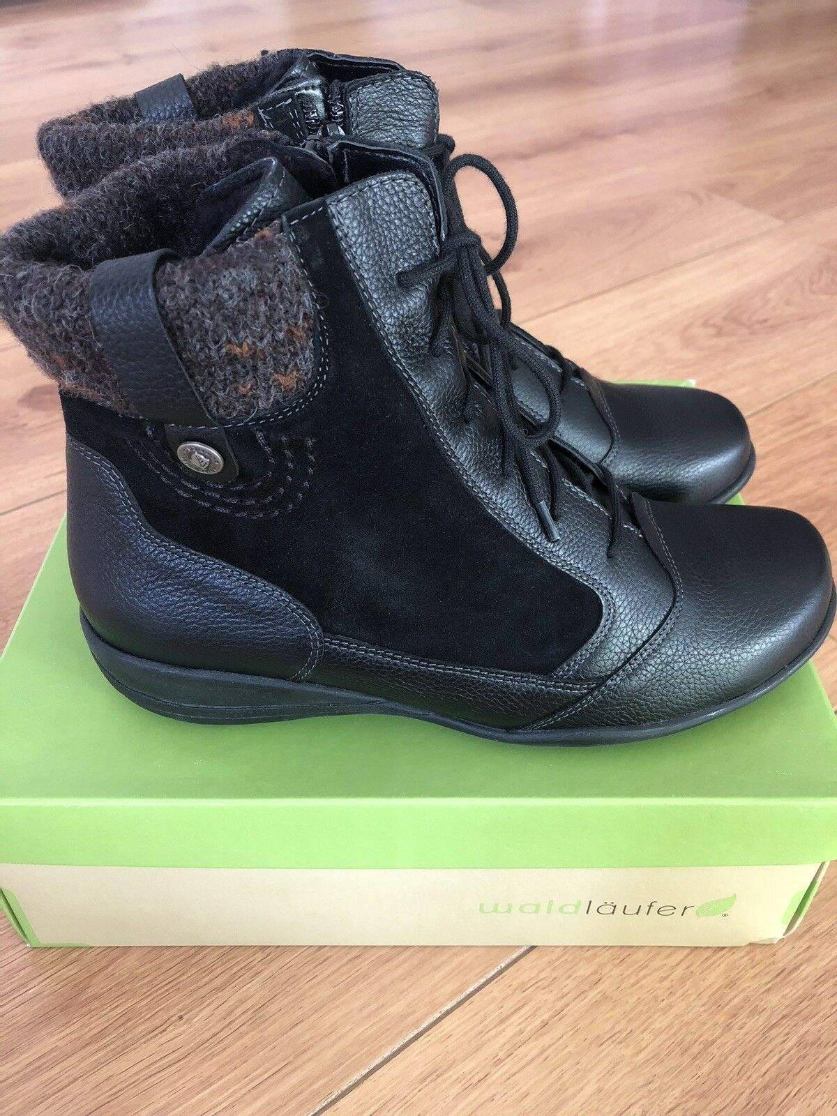 BRAND NEW WALDLAUFER ladies zip lace wool lined ankle boots-black leather UK 4