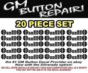 10-Piece Button Decals Sierra Silverado Yukon Tahoe Climate Control A//C REPAIR