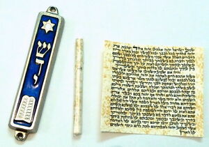 Metal-MEZUZAH-Decalogue-Torah-Bible-Design-With-Non-Kosher-PARCHMENT-Klaf-Scroll