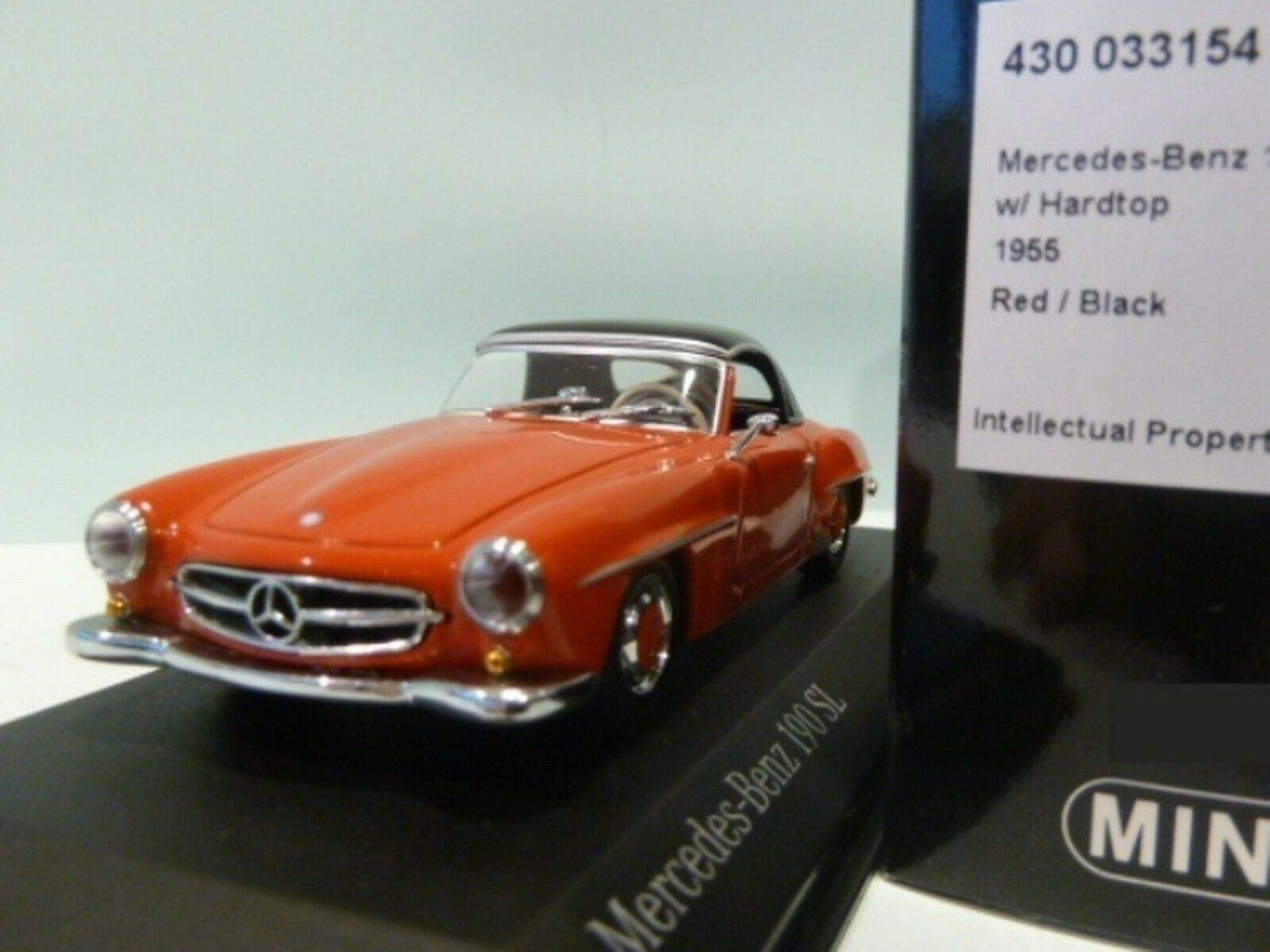 WOW EXTREMELY RARE Mercedes W121 190SL Cabriolet 1955 H.Top Red 1 43 Minichamps