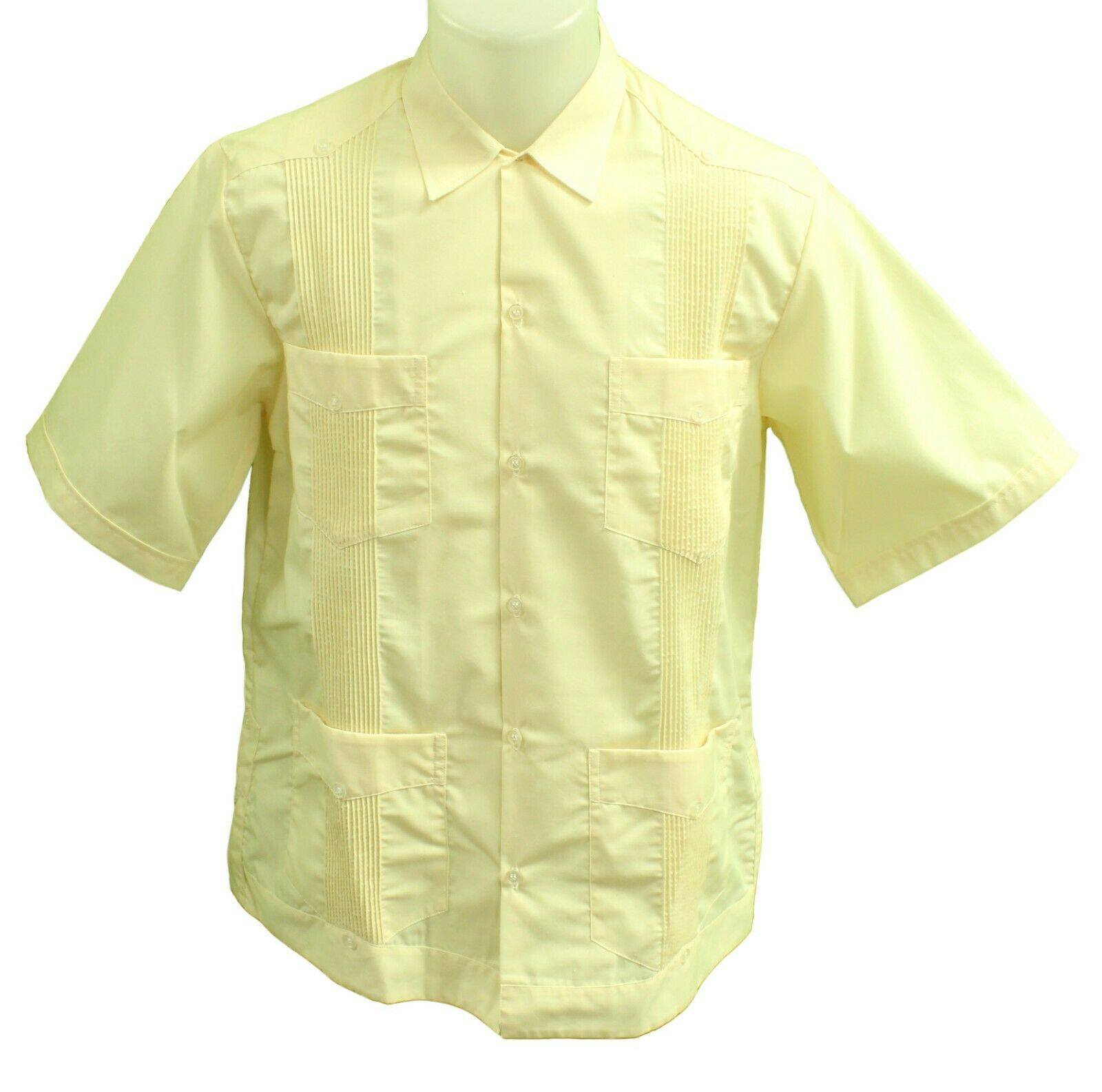 CLASSIC MEXICAN GUAYABERA Shirt, Button Down, LIGHT YELLOW Casual FIESTA SHIRT
