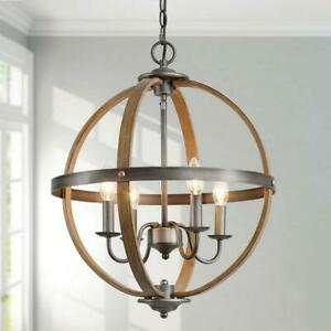 LNC Globe 4-Light Rustic Oil Rubbed Bronze Orb Modern Chandelier Pendant