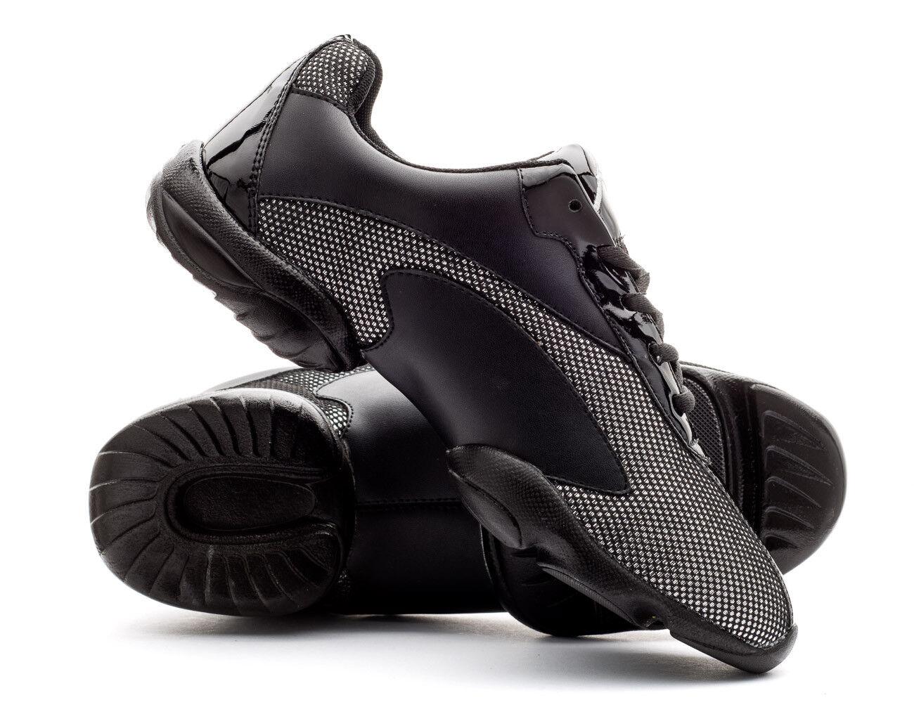 Black & Silver Sparkly Split Sole Dance Practice Shoes Sneakers Trainers Katz