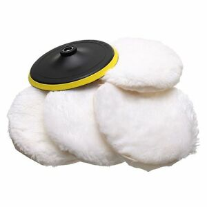5Pcs-Polisher-Buffer-kit-Soft-Wool-Bonnet-Pad-White-4-inch-N6E8