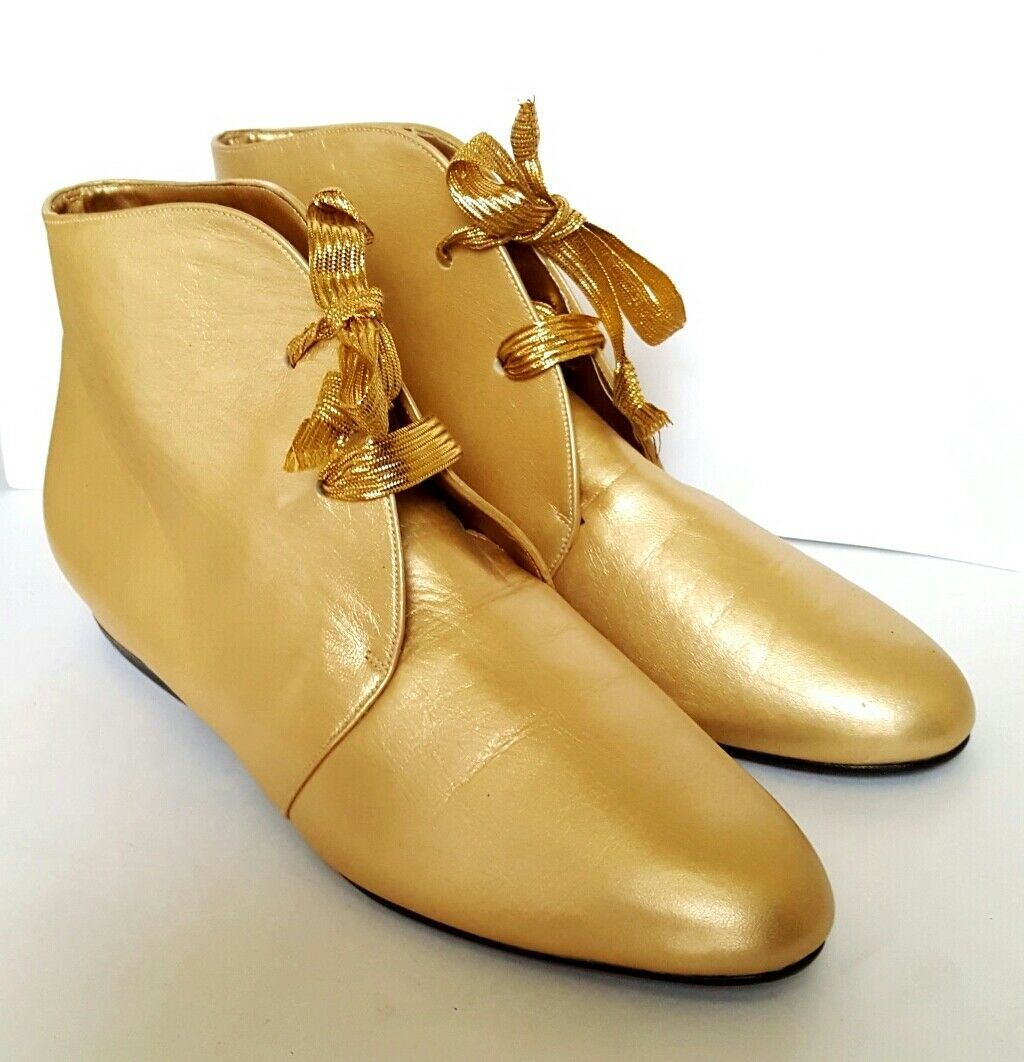 NEW NINA WOMEN'S gold LUXURY GENUINE LEATHER LACE UP BOOTS SZ 7M