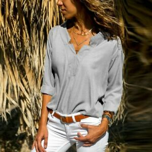 Short-Sleeve-Pullover-Top-V-Neck-Loose-T-Shirt-New-Womens-Tops-O-Neck-Solid