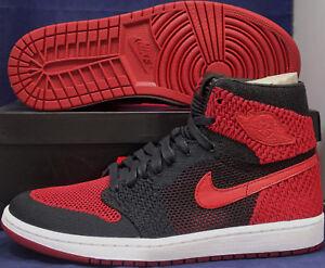 the latest 6a2e0 69128 Image is loading Nike-Air-Jordan-1-Retro-Hi-Flyknit-Bred-