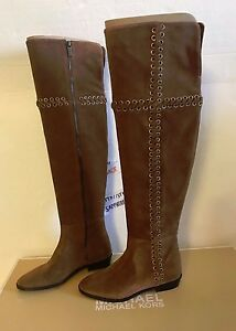 2496cb7fe79fa MICHAEL Michael Kors Malin Over the Knee Boots DARK CARAMEL SUEDE 6M ...
