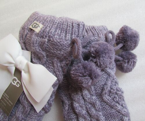 Fleece Socks Pom Lined Lavander Crew Cable 191142833998 Nuovo Knit Ugg dawqtUw