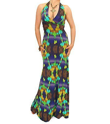 New Navy Blue and Turquoise Halter Maxi Dress