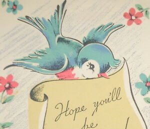 Vintage 1940s greeting card blue bird holding a note 5 14 used vintage 1940 039 s greeting card blue bird m4hsunfo