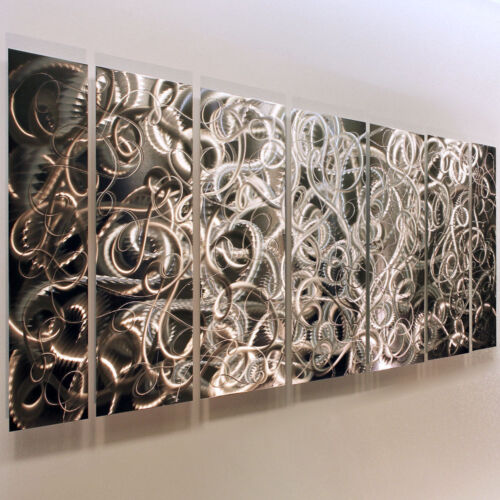 Statements2000 Abstract Silver Metal Wall Art Panels Jon Allen Controlled Chaos