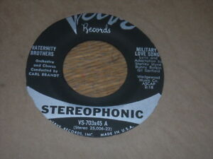Details About Obscure Stereo 45 Fraternity Brothers Military Love Song Oo Bee Doo Bee Do
