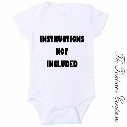 INSTRUCTIONS NOT INCLUDED Funny Baby Grow Bodysuit Babygrow Vest Newborn Gift