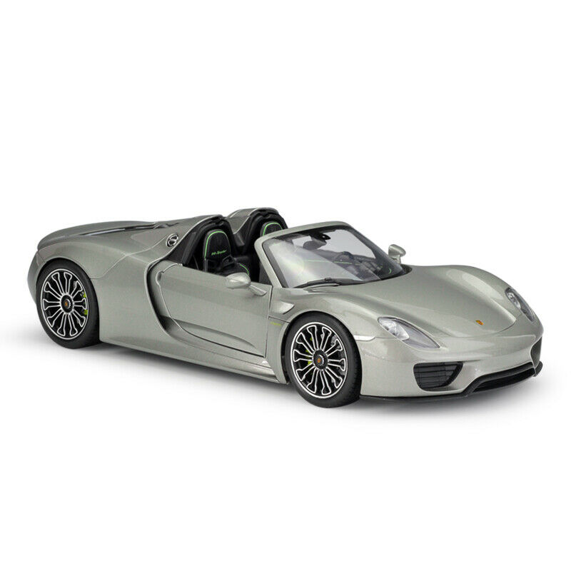 Welly 1 18 PORSCHE 918 SPYDER Racing Car Vehicle gris Diecast Model NEW IN BOX