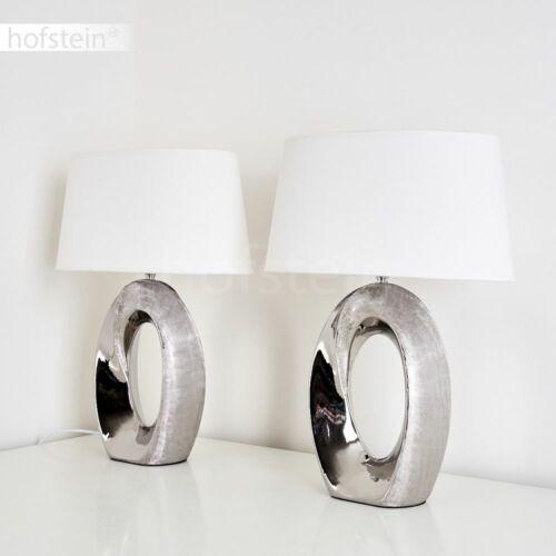 2er Set Schlaf Wohn Zimmer Leuchten Keramik silber Nacht Tisch Lese Lampen Stoff