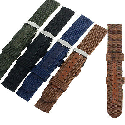 18,20mm Nylon Wrist WatchBand Replacement Strap For Watch Stainless Steel Buckle