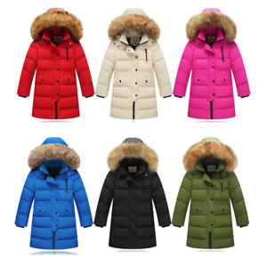 05999fe186ec Kids Girls Children Winter Hooded Parka Down Coat Puffer Jacket ...