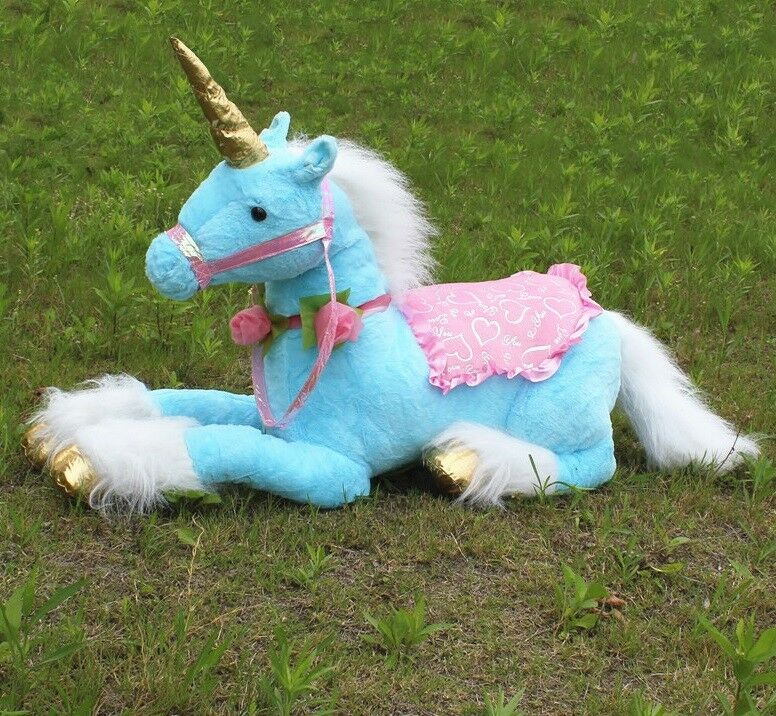 85cm 33.5'' Jumbo bluee Unicorn Plush Toy Giant Stuffed Animal Soft Doll Decor