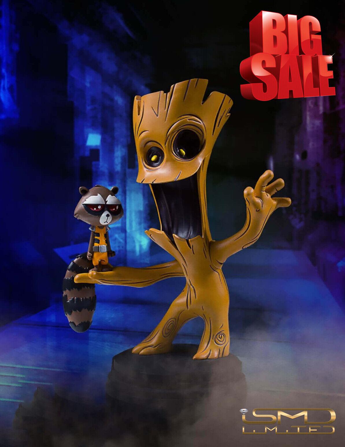 Nuevo Guardianes de la Galaxia Marvel animados estilo Groot & Rocket Raccoon Estatua