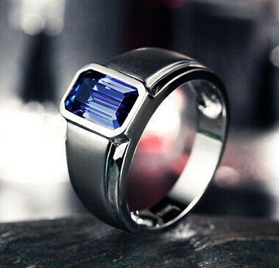 Size 9-12 Brand Jewelry Mens Jewelry Blue Sapphire Silver Band Ring Handmade
