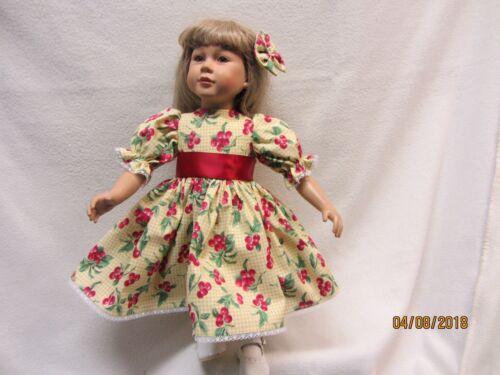 "CHERRIES ON GINGHAM dress fits 23/"" My Twinn doll /& matching bow barrette  9"