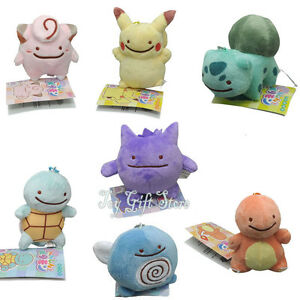 "7pcs Squirtle pikachu 3-3.5"" Ditto Metamon Keychain Poke Plush Doll Figure"