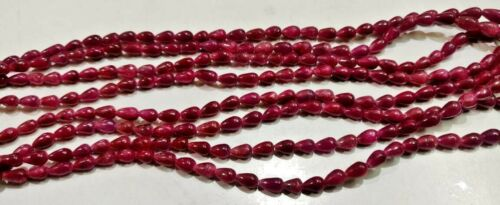 Natural Ruby Teardrop Straight Drilled 4x6mm to 5x7mm beads Strand 8 inch long