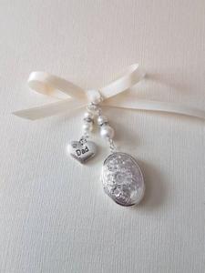 """Mariage Bouquet Photo Charme Ovale Argent Médaillon ivoire perles /& /""""PAPA/"""" CHARME"""