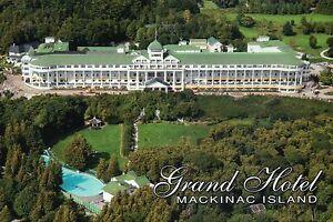 Aerial View Of Grand Hotel Mackinac Island Michigan Somewhere In Time Postcard Ebay