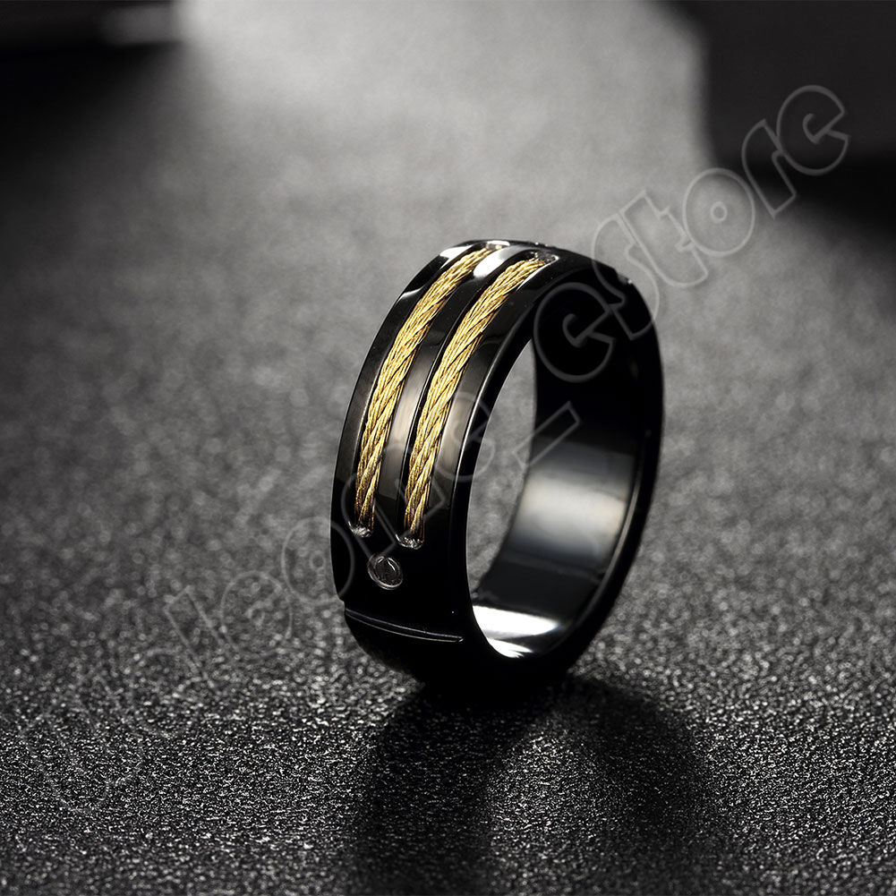 Gift for Men Screw Thread Titanium Steel w//18KGP Gold Rope Band Ring Size 7,8,9