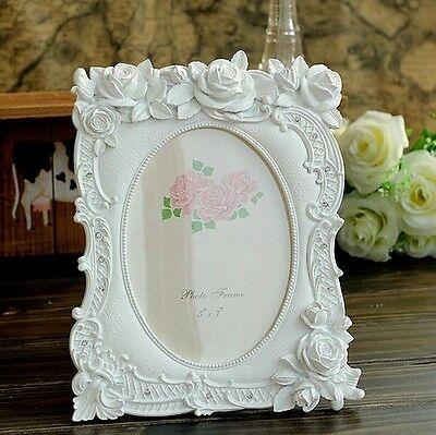 Retro White Rose Flower Home Decor Photo Frame Picture Frame Resin 6'' 7''
