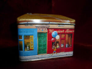 French-Antiques-Musique-Epicerie-Renard-STREET-HOUSE-SHAPE-TIN-Food-Advertising