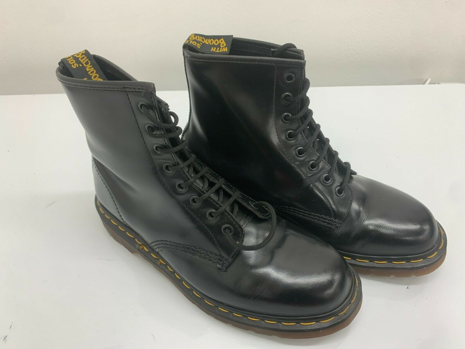 Dr Doc Martens Boots, Size 9UK, Black Shiny, 8 Eyelet, Rare Made In England
