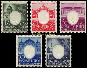 EBS-Generalgouvernement-1943-3rd-Anniversary-Nazi-Party-Michel-105-109-MNH
