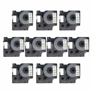 10pk-Black-on-White-Label-Tape-Compatible-for-DYMO-53713-D1-24mm-1-034