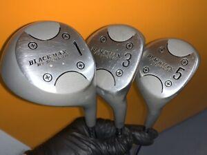 Vintage-Dunlop-Black-Max-Metal-Woods-1-3-5-Golf-Clubs